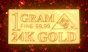 1 GRAM 24K 999.9 Fine Gold Bullion Bar