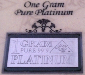 1 GRAM 99.9 Pure Platinum Bullion Bar - CERTIFICATE