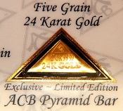 5 Grain 24K 99.99 Fine Gold Bullion Pyramid Bar - CERTIFICATE
